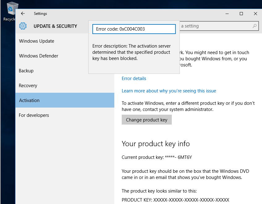 windows 10- Registration key